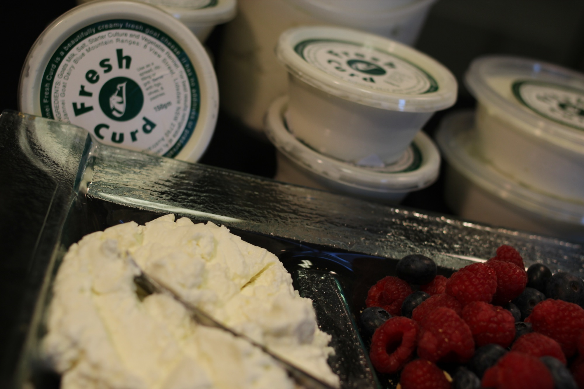 goat curd and berries